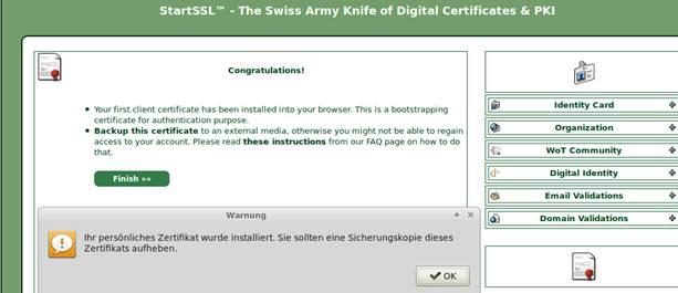 Erwerb eines kostenfreien Class1 S/MIME Zertifikats mit StartCom